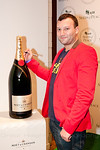 Josh Beckerman, the Foodie Magician, with Moet Bottle at Peace Market 2012